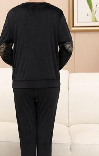 秋芙罗中老年女装秋装运动套装加绒中年女装金丝绒两件套妈妈装春季袖上衣+裤子FL97473 黑色 3XL【建议135-145斤】 晒单图