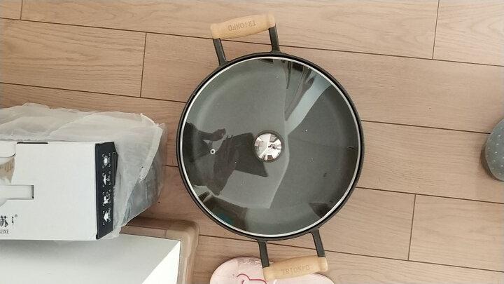 特立安福(TRIONFO) 铸铁平底煎锅 不粘无涂层 电磁炉燃气通用 生铁锅加厚烙饼锅 34cm木柄煎锅送玻璃盖 晒单图