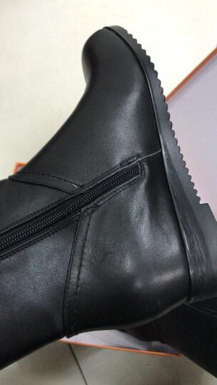 杰豪女鞋冬季新款真皮中筒加绒女靴圆头侧拉链骑士靴潮 内增高2cm 黑色 37 晒单图