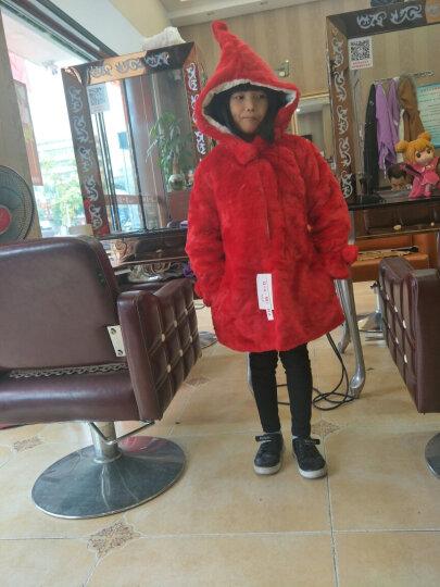 丘米禾(QiuMiHe) 童装2017新款中大女童外套皮草6-8-10岁冬装公主毛毛上衣 红色 150 晒单图