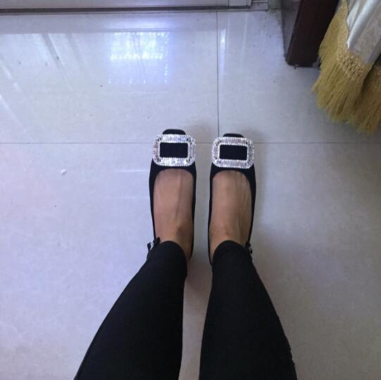 Tata/他她单鞋女鞋休闲方扣浅口平底低跟女士单鞋2A112AQ7 红色 38 晒单图