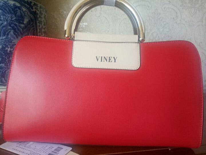 VINEY2020新款真皮女包欧美百搭单肩女士包包斜挎手提大包 安娜红 晒单图