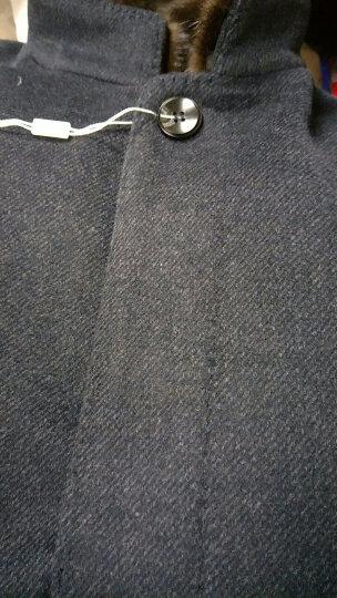 罗蒙(ROMON)中长款羊毛尼大衣男加厚可拆洗羽绒内胆水貂毛立领商务休闲纯色男士毛呢外套 藏青 190 晒单图