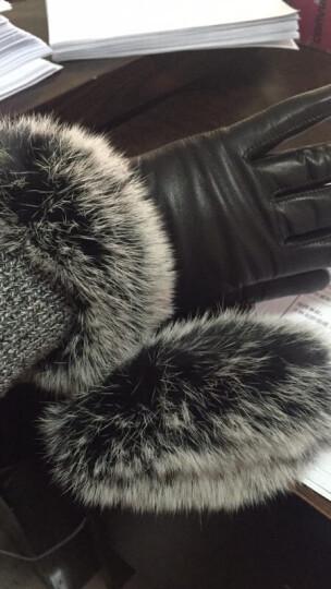 皮尔卡丹女士保暖皮手套 冬天加厚开车骑车女手套 皮毛一体真皮羊皮手套 厚绒里黑色 M(150-160CM) 晒单图