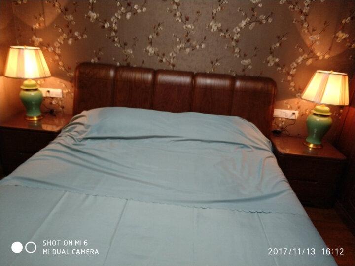 圣玛帝诺 创意欧式陶瓷台灯 卧室 床头简约古典陶瓷装饰现代简约卧室布艺全铜台灯 AV-1260玉绿色调光 晒单图
