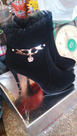 邻家天使高跟鞋秋冬新款绒面防水台蕾丝细跟短靴女 LJ7186-22酒红色 36 晒单图