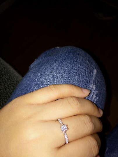 珂兰 白18K金钻戒钻石结婚求婚戒指女戒旋转皇冠T定制 18K金 共53分FG/SI(30+23) 晒单图