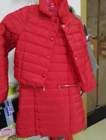 缤果宝宝2018新品冬季韩版女童套装中大儿童洋气棉袄衣服背心裙女孩子时髦三件套小学生加厚保暖外套潮 红色外套+背心裙(两件套) 120码建议身高100-110 晒单图