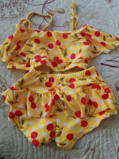 韩国儿童游泳衣女童女孩泳装公主比基尼宝宝分体裙式小中大童泳裤 黄 S(建议身高80-95) 晒单图