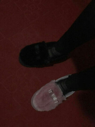 宜然居冬季棉拖鞋男女室内情侣居家棉拖月子鞋半包跟厚底冬季保暖毛绒拖鞋 兔毛蝴蝶结 黑色 38码(内长约23cm) 晒单图