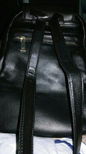 伊贝莎 2018新款头层牛皮双肩包女包真皮大容量背包简约休闲女士旅行韩版潮包 黑色 晒单图