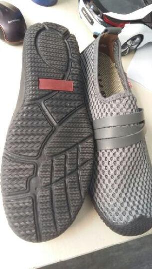 HUMGFENG新款凉鞋沙滩鞋男士手工套脚时尚凉鞋网布鞋洞洞鞋528 皮带款-蓝色 42码 晒单图