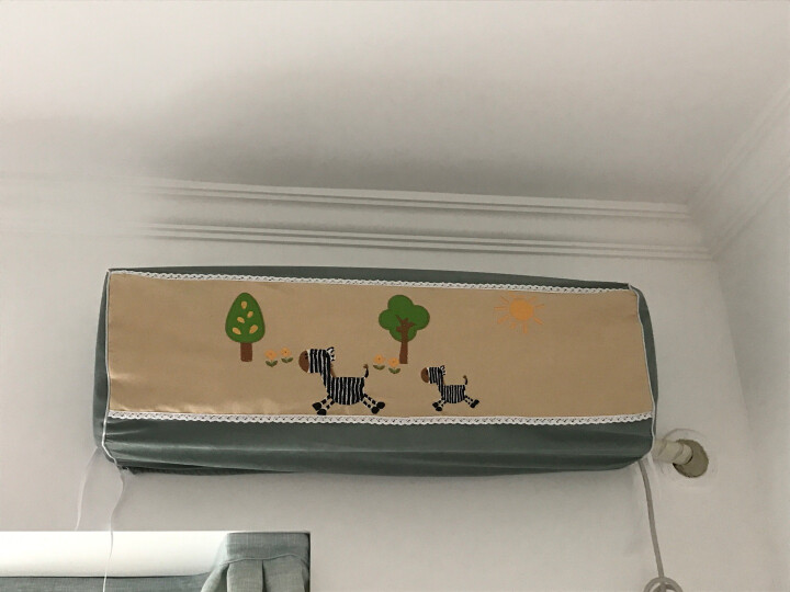 一朵 空调罩挂机格力海尔1.5P空调防尘罩刺绣图案全包空调套 全包小马快跑 长86厚20厘米 晒单图