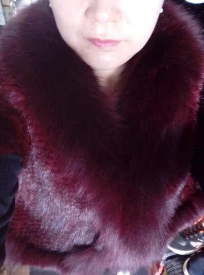 清新怡人 海宁皮草2017水貂皮草背心女新款狐狸毛领披肩编织蝙蝠袖 酒红色 均码 晒单图