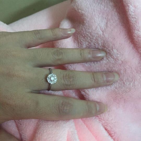 LOVING/爱在此时 2克拉效果钻戒结婚求婚戒指钻石女戒 可定制铂金款 触电生日告白生日礼物 14# 晒单图