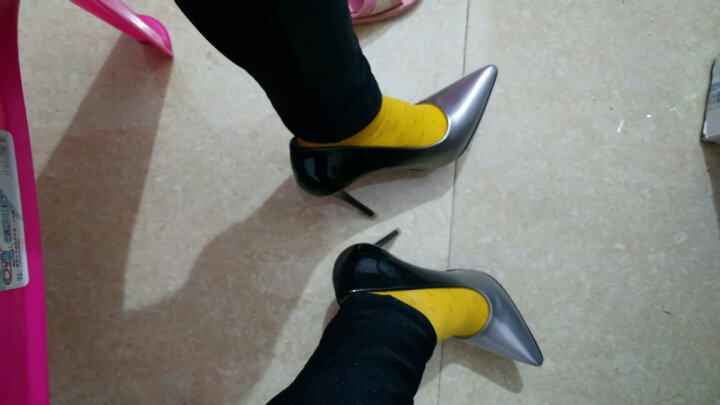 Clio Muses2017春夏新款性感细跟高跟鞋 女鞋OL防水台职业浅口高跟女单鞋 银色 39 晒单图