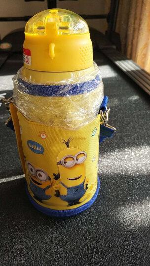 小黄人保温杯 儿童吸管水杯子男女学生不锈钢水壶 双杯盖 带杯套550ML蓝色 晒单图