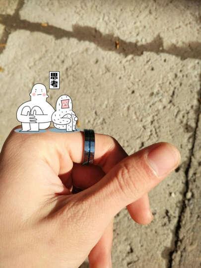 翼力 钨金贵族蓝色男士戒指潮男单身戒子尾戒韩版齿轮食指中指戒指环刻字日韩个性十字架 美12号送绳(内直径21.3mm) 晒单图