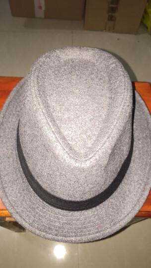 索罗新品韩版潮时尚羊毛礼帽英伦爵士帽舞台帽子男复古绅士帽遮阳帽子女士 L1071黑色 晒单图