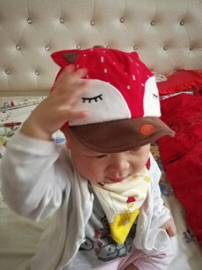 婴儿帽子春秋纯棉宝宝帽6-12-24个月全棉保暖帽儿童帽子鸭舌帽 粉色(鸭舌狐狸套装) 晒单图