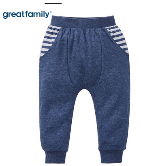歌瑞家(greatfaimly)A类纯棉男童长裤儿童宝宝长裤子PP裤 GB173-575QF 牛仔色 90cm 晒单图