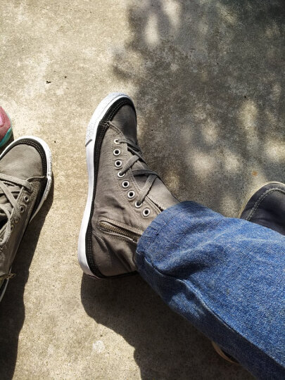 Etapee 意踏步男鞋 帆布鞋男女情侣款 休闲鞋男单鞋 板鞋2017四季高帮新款 拉链款灰色 41 晒单图