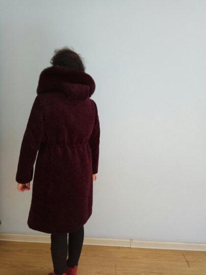 RD 海宁中老年人羊剪绒大衣皮草女外套妈妈装中长款狐狸毛连帽系带羊毛风衣 酒红色 XL 晒单图