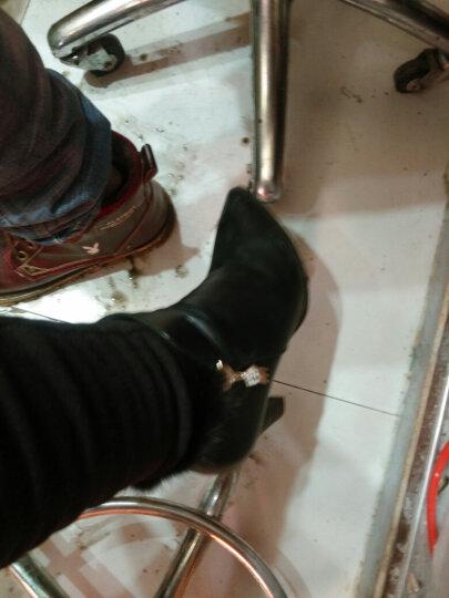 牧言女靴女时尚毛绒保暖短靴2017秋冬新款粗跟高跟鞋尖头冬季加绒女鞋 8106酒红色 36 晒单图