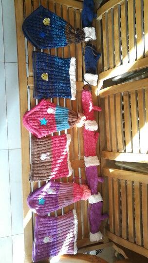 Kocotree KOCOTREE儿童帽子围巾手套三件套保暖秋冬男童女童宝宝帽子加绒套装 湖蓝色小熊 帽子+围脖 建议5-12岁  适合头围52-56CM  加绒 晒单图