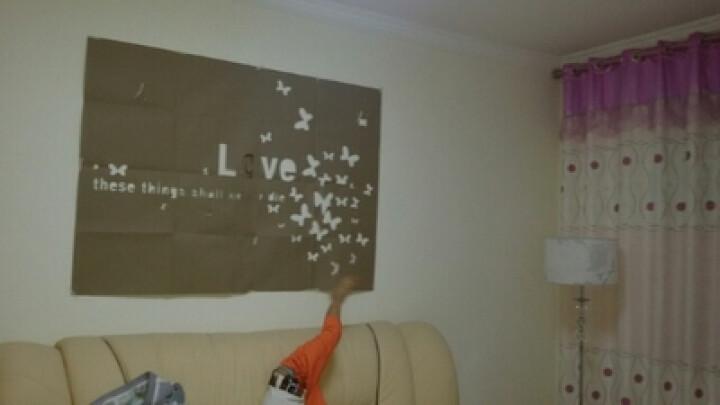 棉呆呆 亚克力水晶立体墙贴画特大卧室客厅电视背景墙贴纸镜面3d装饰墙饰 黑色红蝶 中-150*69cm 晒单图