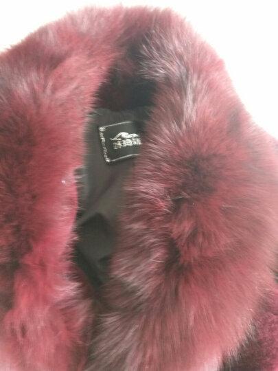 咔琦娜 2017新款羊羔毛大衣气质修身中长款 可拆卸狐狸领皮草外套女 黑色 L 晒单图