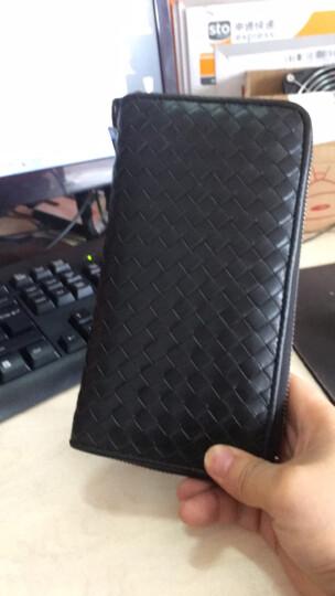 2017年欧美新款羊皮编织钱包女士钱包男士长款拉链钱包真皮夹手机情侣手拿包 双墨绿 晒单图