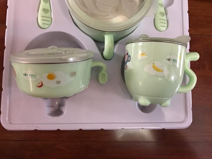 好伊贝儿童餐具套装注水保温碗婴儿不锈钢吸盘碗宝宝餐具耐热防摔保温便携儿童碗辅食碗 新款粉6件套(316L不锈钢) 晒单图