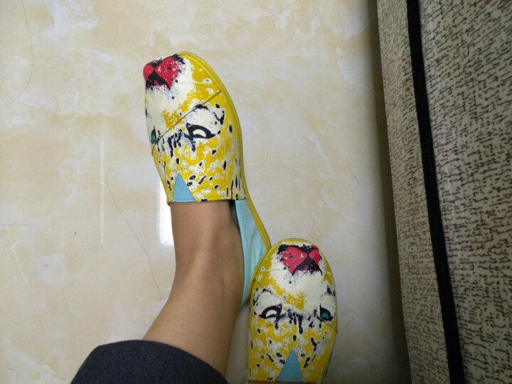 汤姆斯Tt&Mm新款帆布鞋女韩版学生女一脚蹬女生懒人鞋乐福鞋渔夫鞋玛丽鞋TM561109W 黄色 39 晒单图