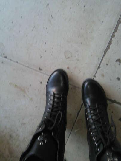 华洛威秋冬新款女靴中跟短靴女时尚粗跟马丁靴防水台中筒系带加棉机车女靴子 黑色加棉(印花玛莎拉蒂) 38 晒单图