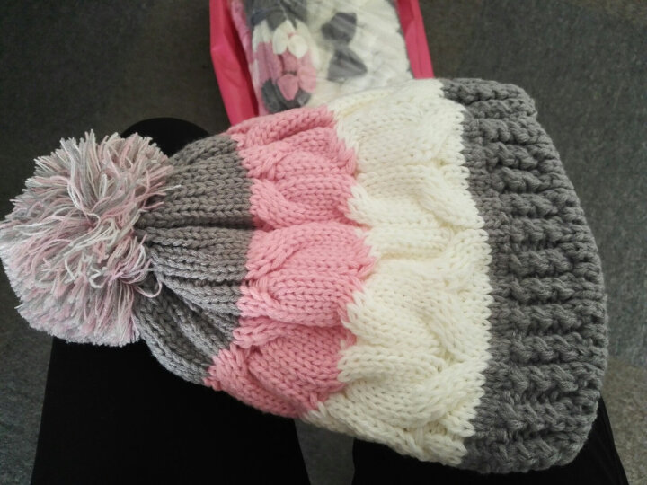帽子手套围巾三件套女一体围脖冬季女生毛线帽保暖可爱蝴蝶结生日礼物 藏青色 晒单图