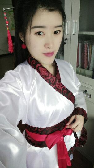 新款汉服女装汉服曲裾古装服装 汉服民族服装女古装曲裾演出服装 上衣红裙子红 L(适合身高165-172cm) 晒单图