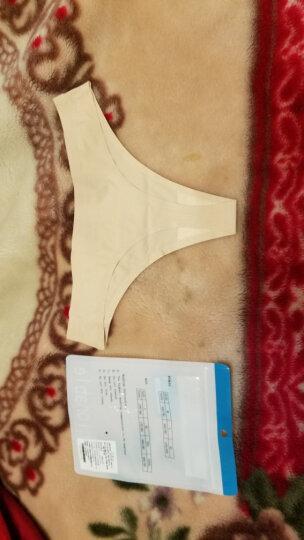 纤诗月丁字裤女性感运动健身内裤纯棉低腰无痕隐形T裤 3074组合二蓝黑红 M 晒单图
