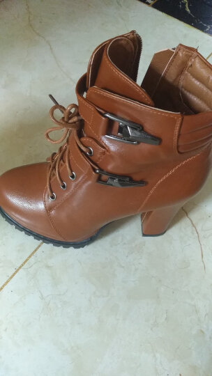 欧雅玲珑高跟短靴女粗跟冬季款时尚显瘦英伦风马丁靴女厚底防水台女靴百搭休闲女鞋子 绒里卡其 35 晒单图