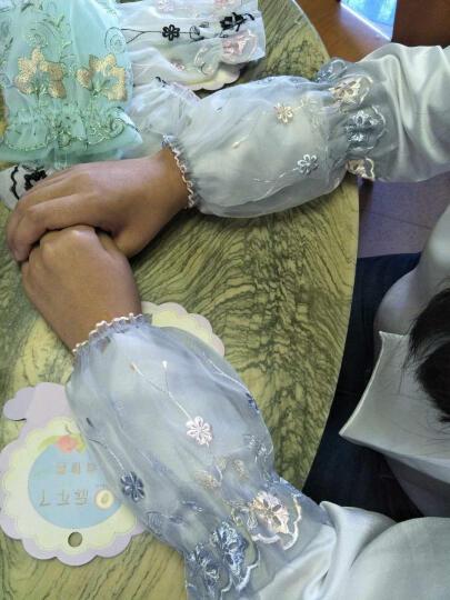 UYUK袖套女双层蕾丝秋冬短款家务办公防污护手袖头 咖啡色不透 晒单图