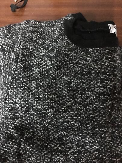 【清仓】 韩版胖MM两件套连衣裙优雅小香风显瘦套装编织呢宽松上衣包臀A字半身裙子 黑灰色 M 晒单图