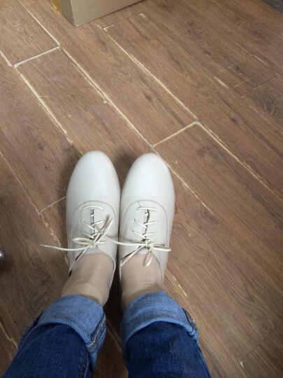 琪可朵单鞋女士真皮新款平底深口韩版休闲鞋女士鞋英伦风小白鞋 优雅杏色 39 晒单图