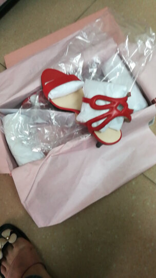 JoyPeace真美诗夏季专柜同款羊皮细跟女一字带凉鞋 红色 38 晒单图