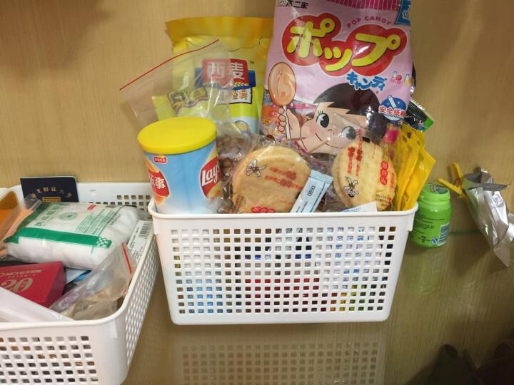 inomata日本进口塑料篮子玩具食品文件收纳筐办公收纳篮收纳框 白色4573 晒单图