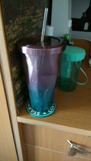 杯子不锈钢吸管随行杯保温杯创意学生冰杯男女咖啡杯礼品办公杯 菱形淡紫色 晒单图