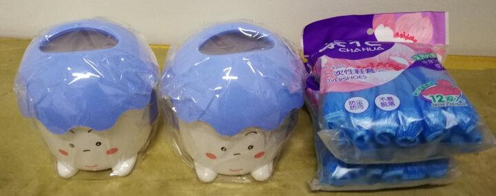 茶花(CHAHUA) 茶花一次性加厚鞋套耐磨塑料鞋套12双装(PE膜)4205 蓝色 晒单图