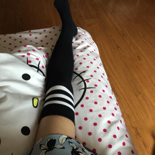 浪莎长筒袜女韩版过膝袜子女学院风日系高筒半截美腿长靴袜 条纹黑2条 均码 晒单图