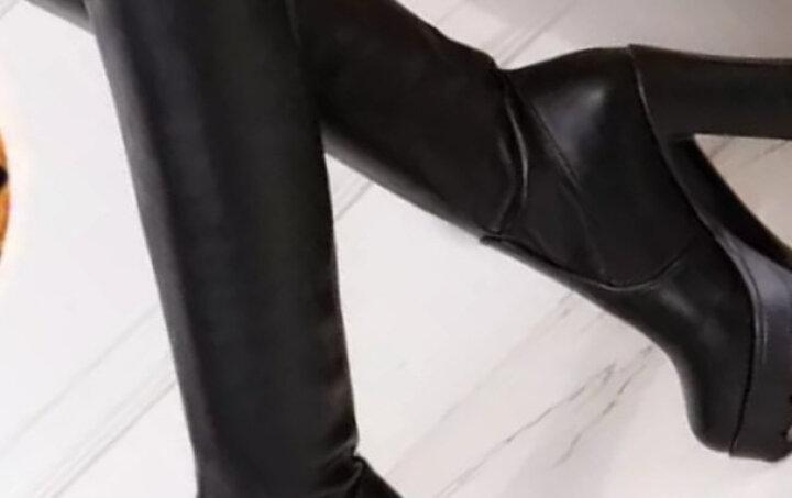 16秋冬过膝长靴粗跟防水台性感长筒靴高筒修身显瘦超高跟弹力靴女 黑色光板加棉 35 晒单图
