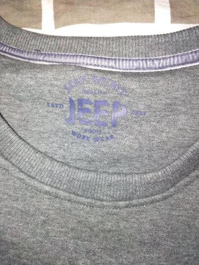 Jeep吉普新款长袖T恤男 秋冬纯色圆领打底衫舒适弹力上衣 蓝色 M/170 晒单图