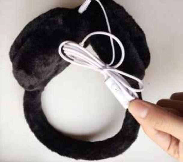 e街 男女情侣保暖音乐耳机耳套韩版可爱耳包纯色毛毛绒耳罩耳暖 黑色 晒单图